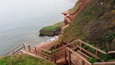 Steep steps down the cliff
