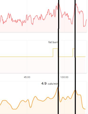 2 peaks of activity on the steep steps