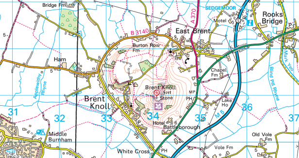 OS map of brent knoll